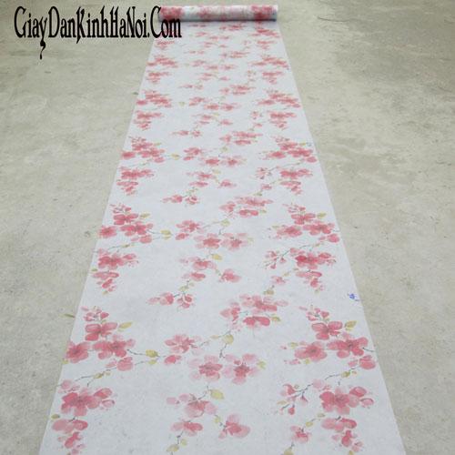 giấy dán kính hoa đào đỏ