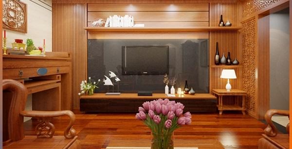 gỗ ốp tường phòng khách