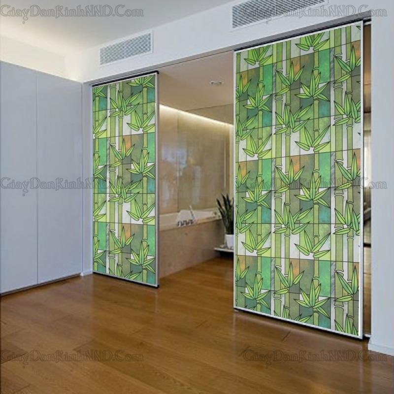 giấy dán kính hình cây trúc xanh